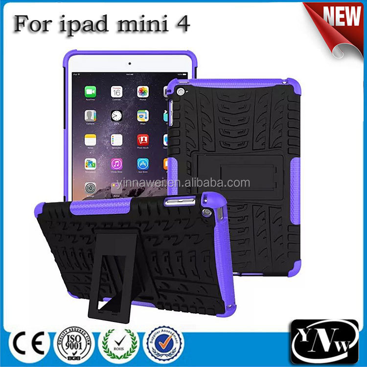 For Apple iPad Mini 4 Case Cover, For iPad Mini 4 Kickstand Case, TPU+PC Tire Pattern Hybrid Case For iPad