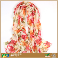 Women's 100% cashmere wool scarf with beautiful floral print scarves shawl wraps