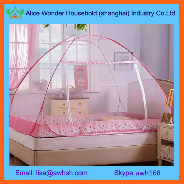 Polyester Free Standing Pop Up Double Bed Mosquito Net Tent