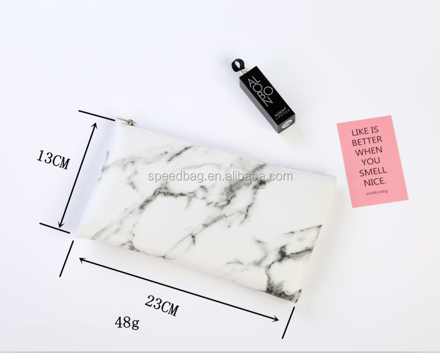 2019 New fashion marble cosmetic bag zipper storage bag portable ladies travel square PU leather makeup brushes bag