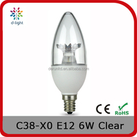 C38 TUNABLE 500LM 6W INCANDESCENT 40W E12 CANDLE CLEAR LIGHT BULB WITH UL TECHNOLOGY