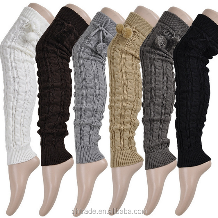 In Stock Fashion Women Cable Knitted Extra Long Thigh High Leg Warmer with pom pom