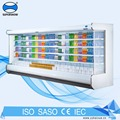 Commercial Used Curtain Supermarket Refrigerated Vertical Open Showcase