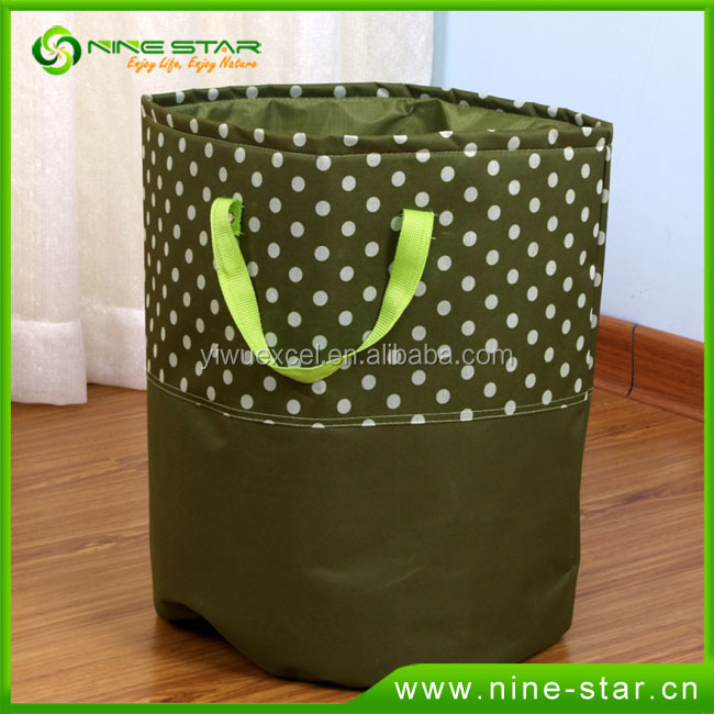Dots printed hotel laundry basket portable laundry hamper