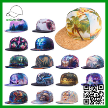 Fashion custom polyester 5 panel hip-hop 3D heat tranfer printing snapback cap/<strong>hat</strong>