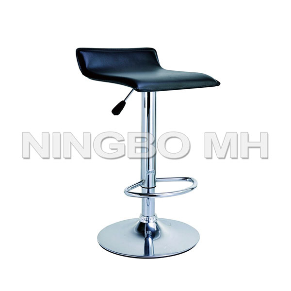 Chrome Air Lift Adjustable Swivel Stools with Black Seat