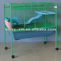 2012 newest design green iron rabbit cage with wheels and tray