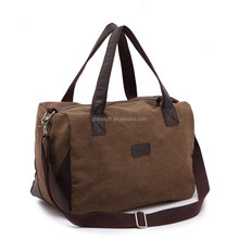 Small Vintage Canvas Tote Duffle Handbag Two Toned Casual Square Gym Travel Bag
