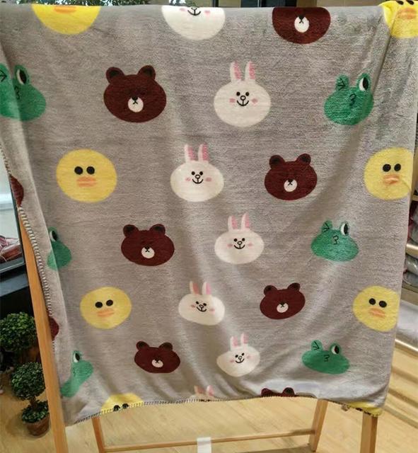 Teddy bear cartoon cycle pattern flannel fleece print baby blanket