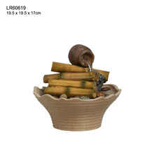 Tabletop indoor resin craft bamboo water fountain