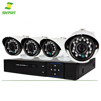 4CH channel CCTV DVR Kit Inc. H.264 Network DVR with Mobile Viewing and Waterproof IR 20M Bullet Bracket Cameras with OSD Menu a