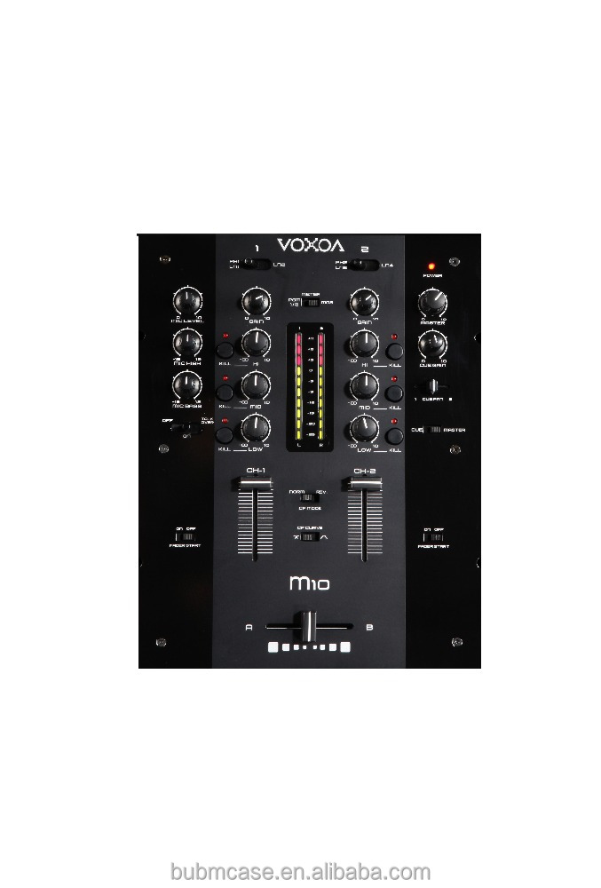 2016 VOXOA 2 channel DJ mixer M10 with 2 band equalizer for microphone