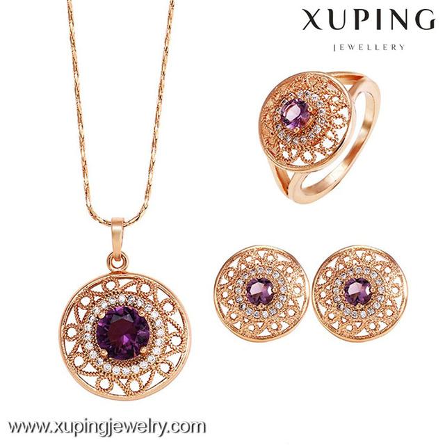 62421xuping wholesale costume rose gold Luxury Jewelry Set, fashion wedding gold cz diamond jewellery