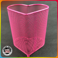 Pink Heart Shape Iron Mesh Container For Pen