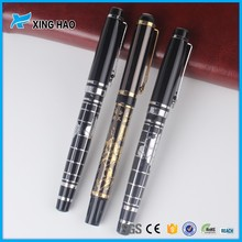 High quality expensive high value antique emboss brass gift roller pen set with diamond clip