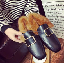Woolen shoes women's cashmere Korean version of the flat-bottomed peas shoes 2018 new winter women's shoes