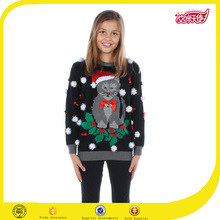Custom girls Christmas led light sweater,black sweater for christmas with cat pattern