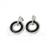 Big black jhumka round lacquer earrings for women