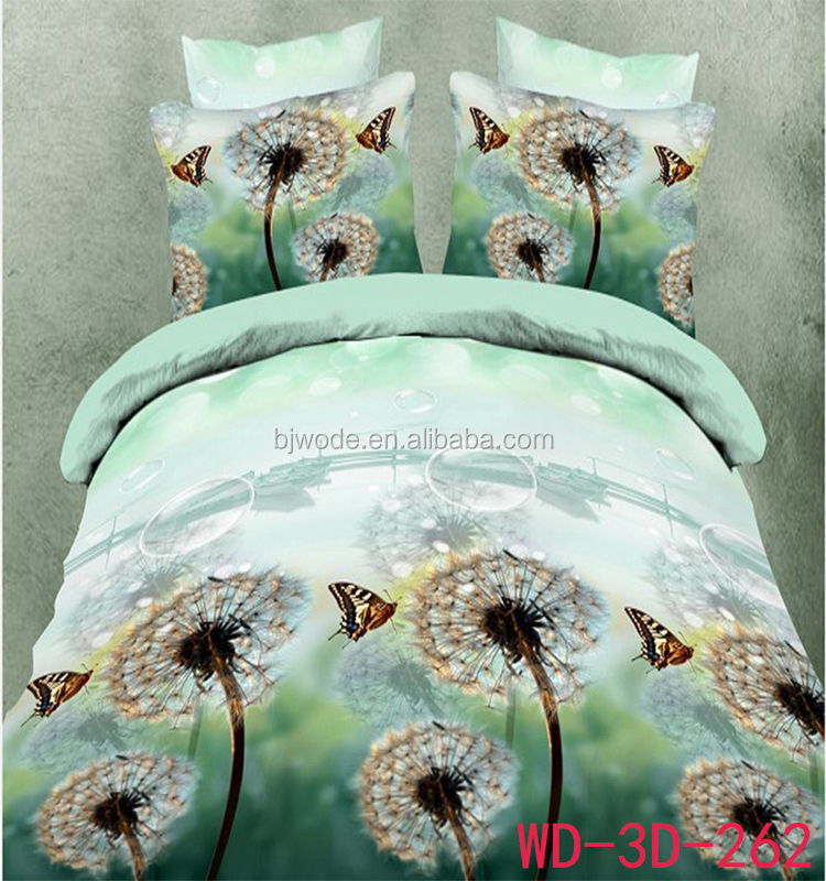 beautiful dandelion and butterfly print 3d queen size dandelion printed bedding set