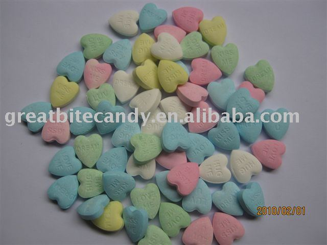 Dextrose candy, pressed candy in heart shape