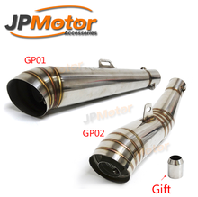 JPMotor - 51mm Wholesale cafe racer parts universal stainless steel motorcycle gp exhaust muffler