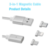 Nylon Magnetic Cable 3 in 1 Charging Cable for iphone for Type-C for Android Magnetic Phone Cable
