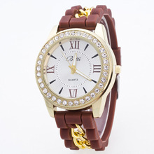 Best selling colorful watches for ladies diamond silicone watches