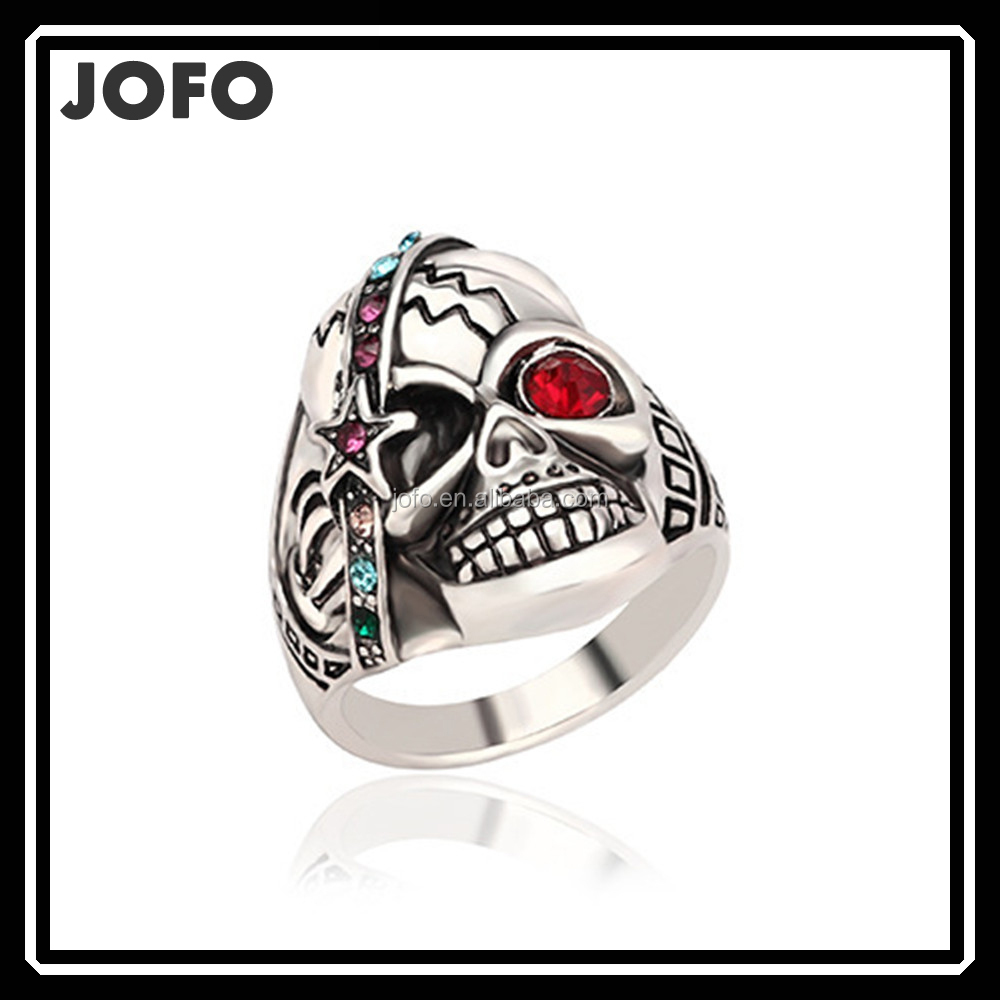 Wholesale European Style Silver Plated Skull Head Statement Ring With Rhinestone