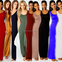 wholesale summer women lady girl casual sleeveless one piece long dress maxi dress