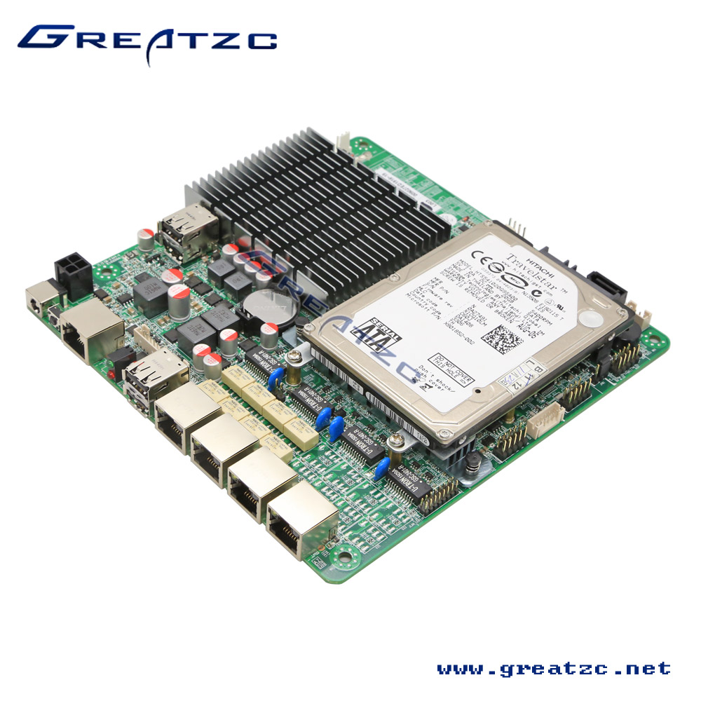 J1900 4 Lan Ports Motherboard, four gigabit ethernet Mainboard, Fanless MINI ITX Mainboard With MSATA&WIFI