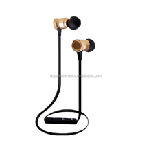 Stylish stereo hifi golden finish cheap wireless bluetooth earphones with in-line microphone