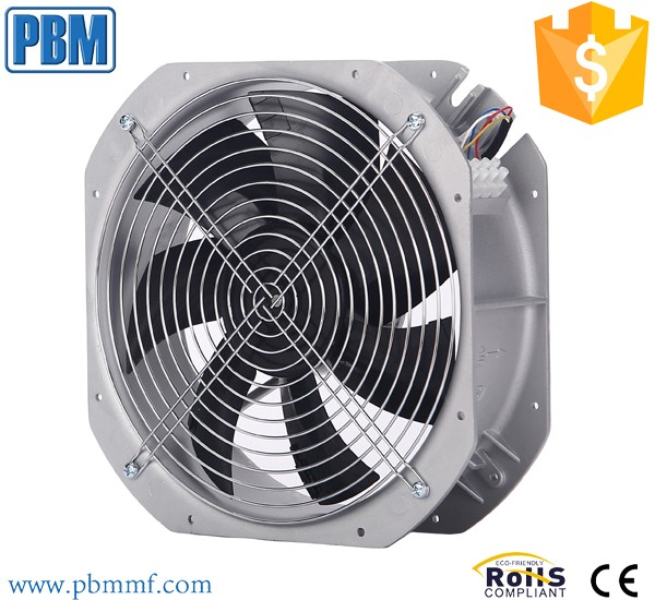 DC axial fan with ec brushless external rotor motor