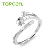 9RM152 Topearl Jewelry DIY 925 Sterling Silver Shiny Zircon Paved Pearl Findings Jewelry Settings for DIY Making
