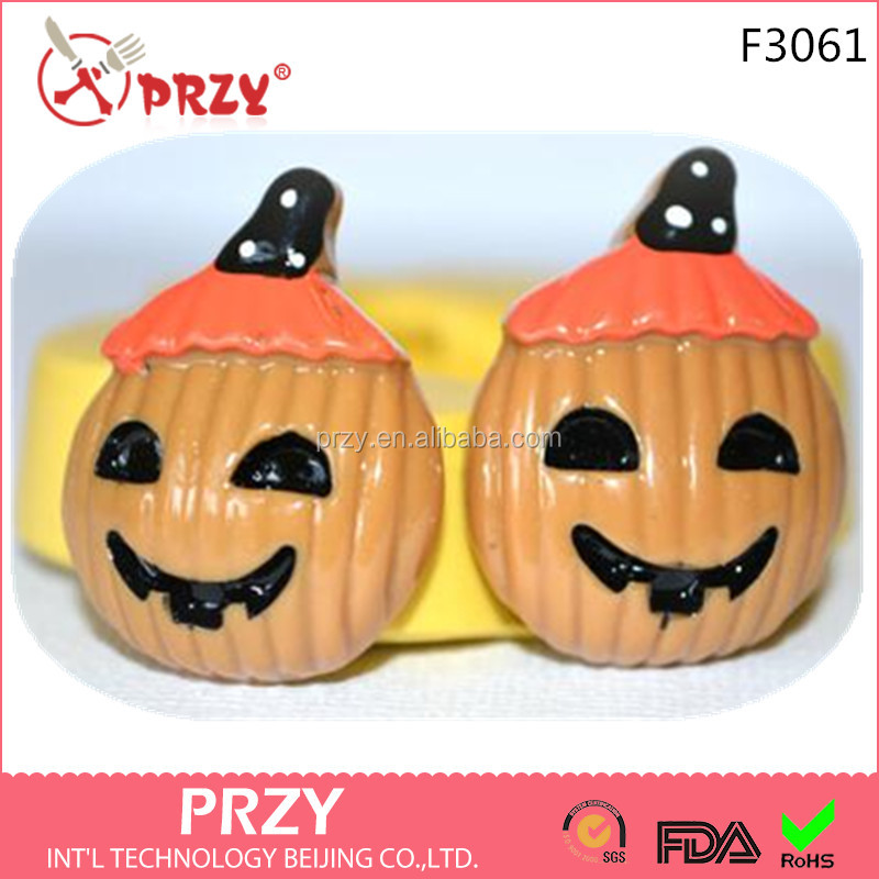 F3061 PRZY Lantern Pumpkin Halloween Silicone Rubber Flexible Food Safe Mold Mould Silicone Fondant Mold