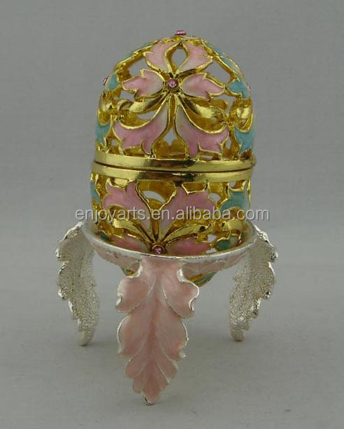 Enamel Crystals Jeweled Hollow Faberge Egg Metal Trinket Box(P41005d)