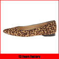 leather leopard shoe upper rubber outsole point flat shoe