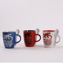 Europe Market 2 tones color glazed Gecko Stoneware Ceramic Coffee Mug,High Quality Ceramic Coffee Mug,Coffee Mug With Spoon