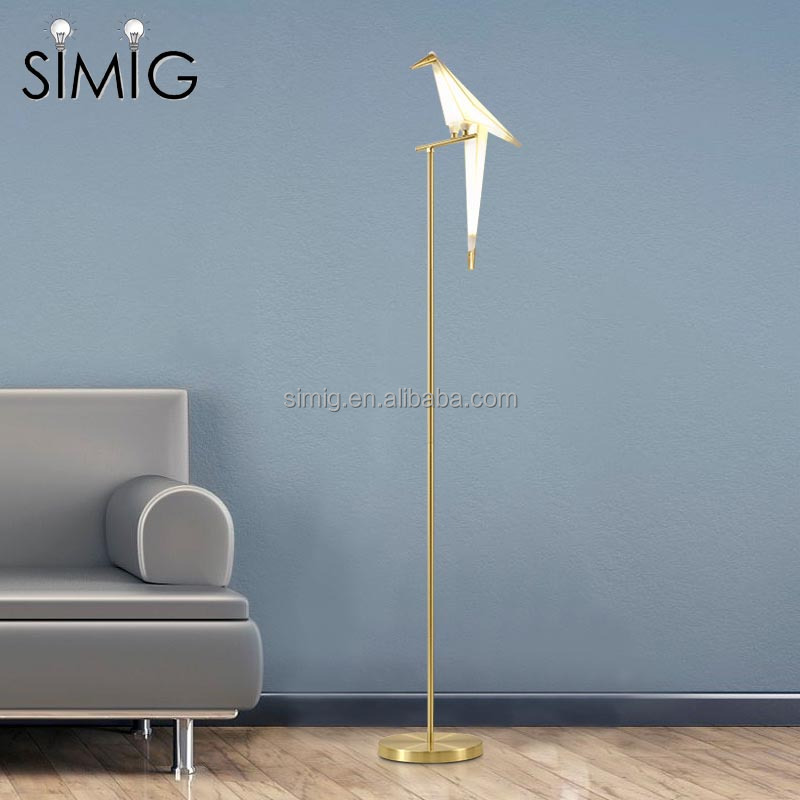 modern design golden color standing paper crane led floor lamp for Living room study room