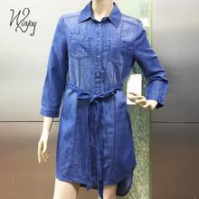Customized color generous casual denim women summer long sleeve lady dress