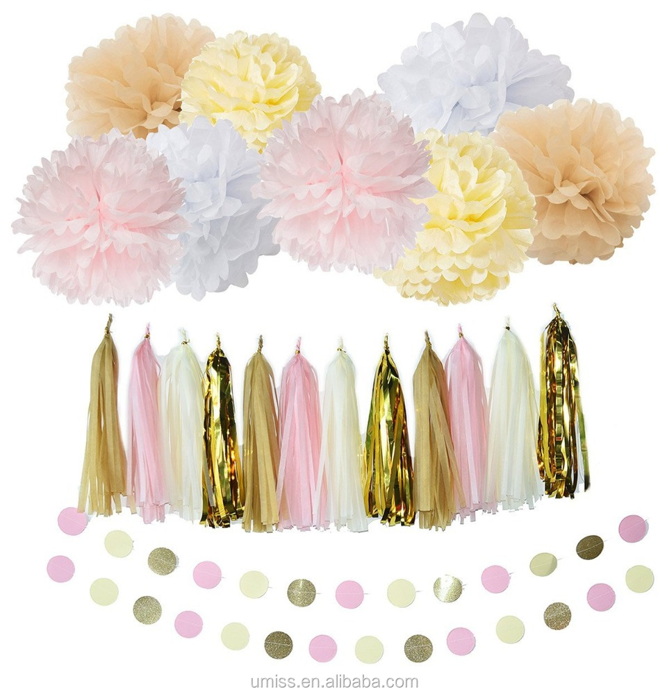 Set of 22pcs with Silk Tassel Garland , Paper Flower ,Circle Garland for Baby Shower and Birthday Parties