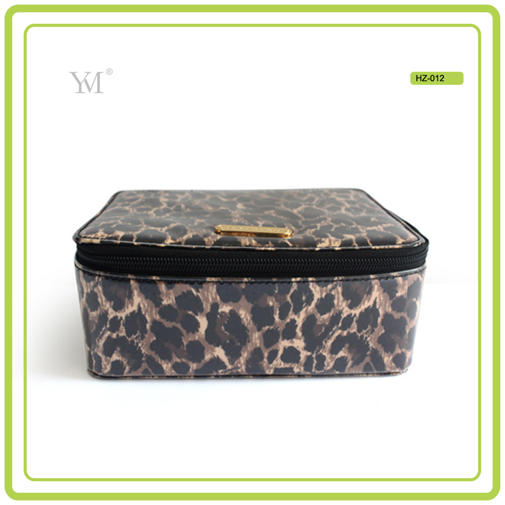 sexy wild 2017 wholesale custom logo jewelry case leopard pattern leather cosmetic box
