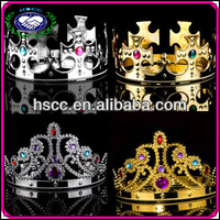 Wholesale Carnival Party Supplies Rhinestone Plastic Metal King Prince Princess Queen Crown