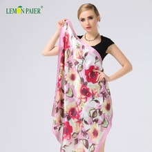 Chinese Style Women Custom Digital Printi Stain Floral Silk Scarf