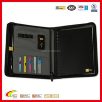 Genuine Leather Black Portfolio / Padfolio For IPad2/3/4/Air, A4 Conference Folder Zipped Faux Leather Padfolio