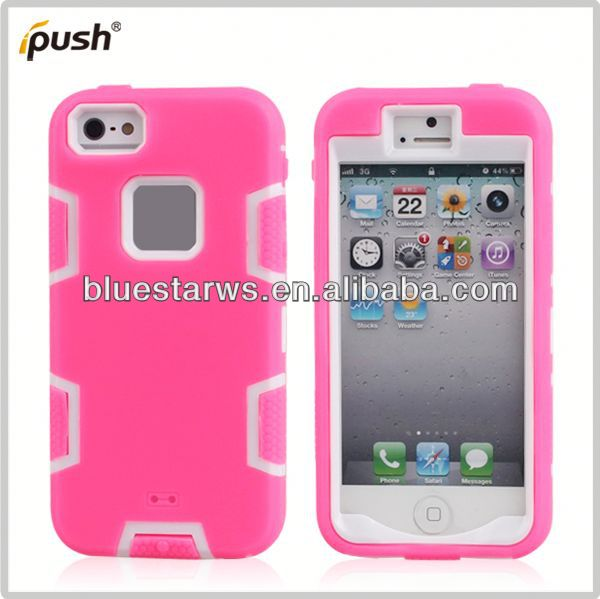 pc cover case for iphone5 Factory Wholesale Hybrid PC Silicone Back Cover For Iphone5