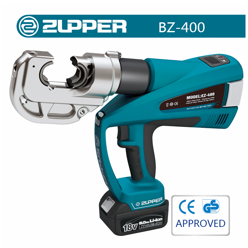 Zupper BZ-400 Cordless Hydraulic Cable Crimping Tool Wire Terminal Crimping Tool Cable Lugs Crimper