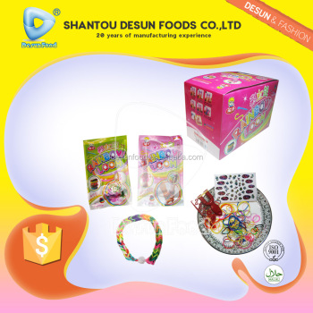 Girl and boy 3 in 1 suprise popping candy with rubber bracelet and fashion nail sticker