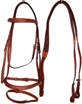 Custom made D. A. brand English and Polo bridles