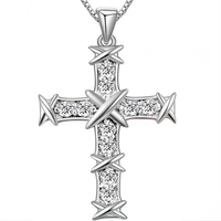 2015 New AAA 100% 925 Sterling Silver Jewelry Starry Classic Cross Necklaces & Pendants Silver Christmas Gift FREE SHIPPING