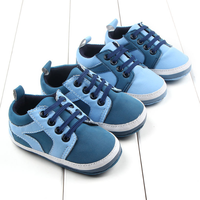 TSW3524 Fancy lace up blue color toddler baby boy shoes
